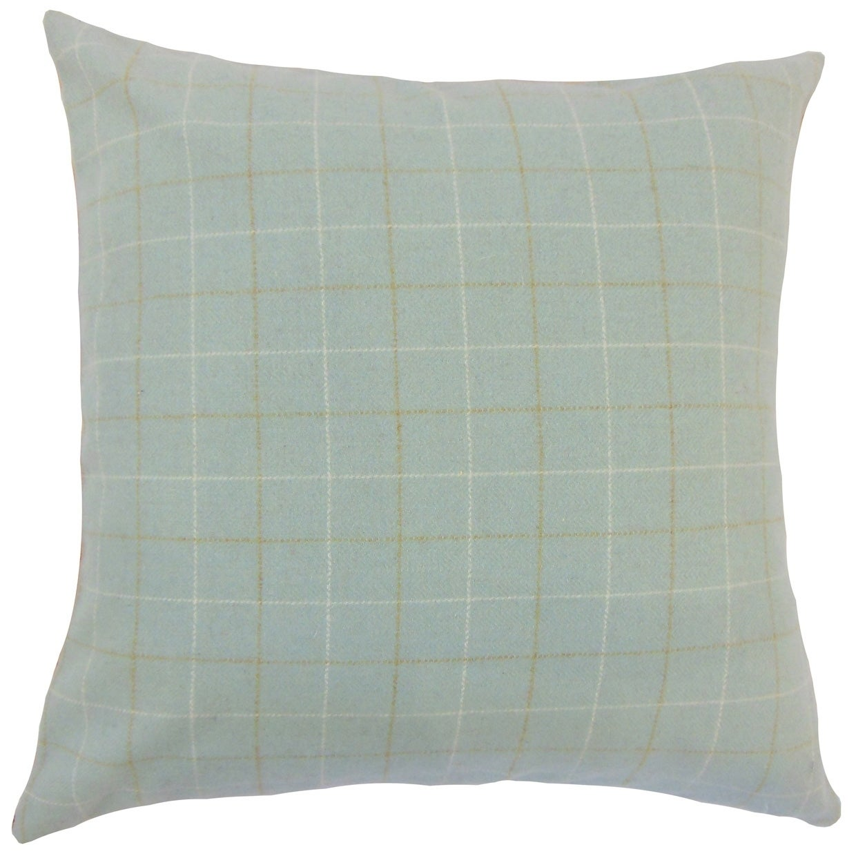 Geovany Plaid Down Filled Throw Pillow in Blue (Rectangle - 12 x 18)