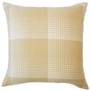 Tiernan Plaid Down Filled Throw Pillow in Honey