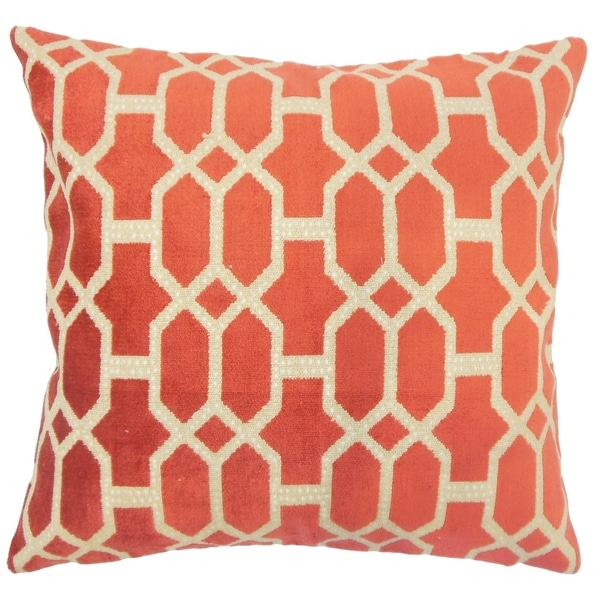 Devonte Geometric Down Filled Throw Pillow in Cayenne