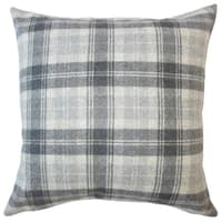 Umber Plaid Down Filled Throw Pillow in Charcoal