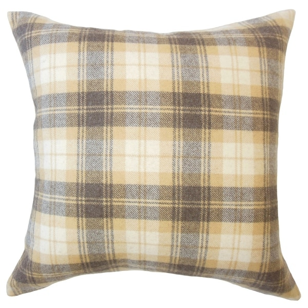 Umber Plaid Down Filled Throw Pillow in Honey