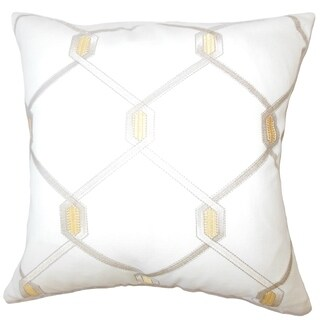 Eadith Geometric Down Filled Throw Pillow in Amber