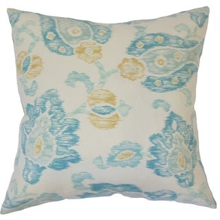 Maaile Floral Down Filled Throw Pillow in Turquoise