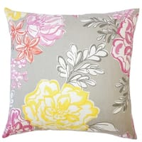 Mirri Floral Down Filled Throw Pillow in Mineral