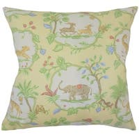 Caliana Floral Down Filled Throw Pillow in Yellow