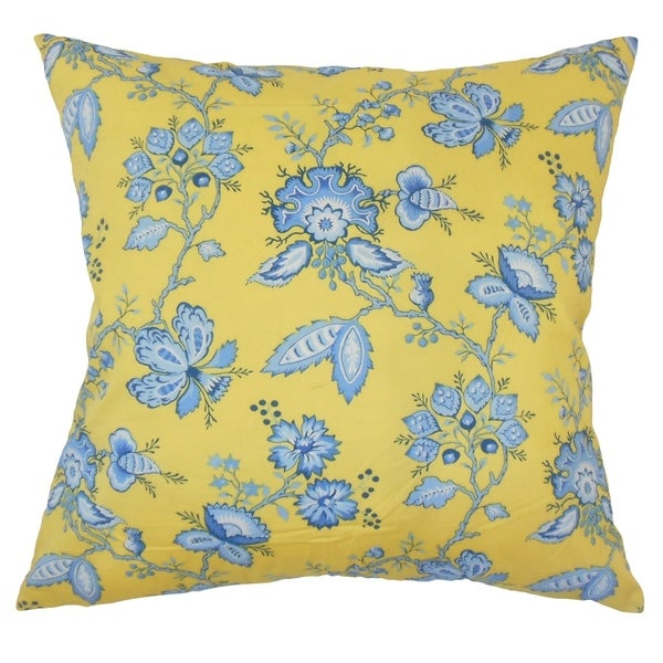 Idania Floral Down Filled Throw Pillow in Yellow