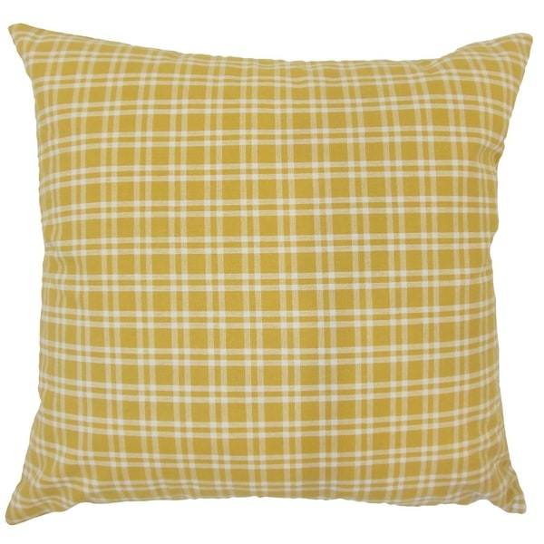 Damond Plaid Down Filled Throw Pillow in Yellow. Opens flyout.