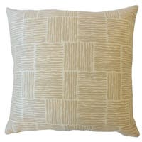 Perrin Striped Down Filled Throw Pillow in Sand