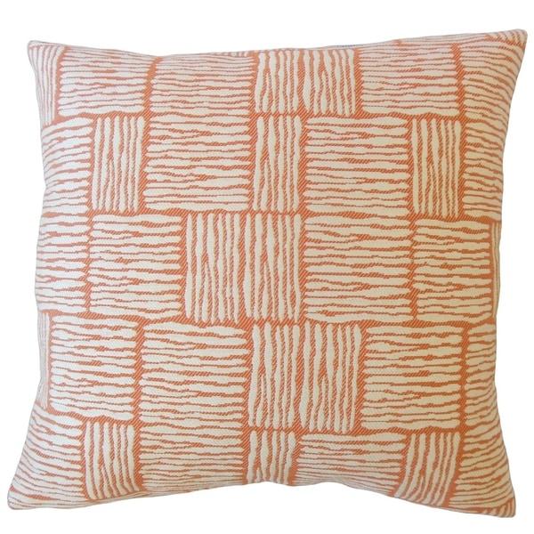 Perrin Striped Down Filled Throw Pillow in Mandarin