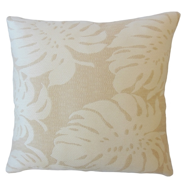 Quince Floral Down Filled Throw Pillow in Shell