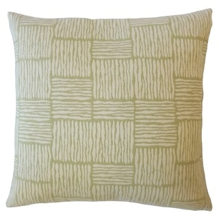 Perrin Striped Down Filled Throw Pillow in Palm