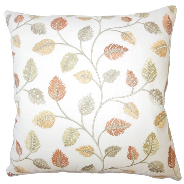 Daya Floral Down Filled Throw Pillow in Amber
