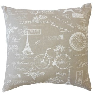 Dalayne Typography Down Filled Throw Pillow in Ecru
