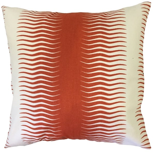 Rashard Geometric Down Filled Throw Pillow in Persimmon