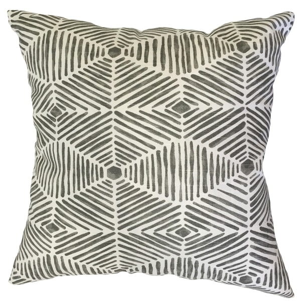 Iakovos Geometric Down Filled Throw Pillow in Grey. Opens flyout.