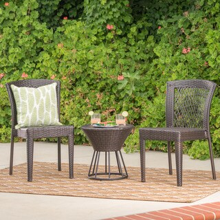 Remy Outdoor 3-Piece Wicker Stacking Chair Chat Set by Christopher Knight Home