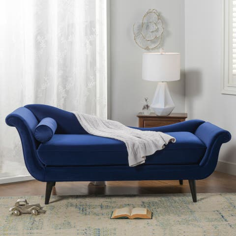 Kai Velvet Chaise Lounge with Bolster Pillow by Sandy Wilson Home