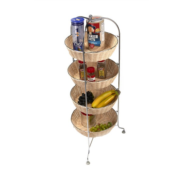 Mind Reader 4 Tier Woven Round Mobile Cart