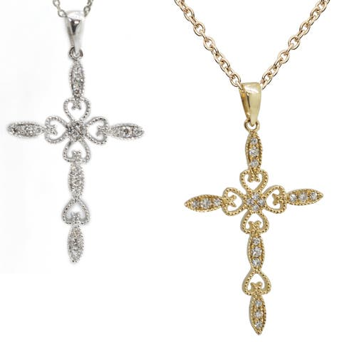 Kabella 14k Yellow or White Gold Round Diamonds Cross Beaded Pendant