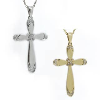 Kabella 14k Gold Round Diamonds Gothic Cross Pendant - White|https://ak1.ostkcdn.com/images/products/18076012/P24237185.jpg?impolicy=medium