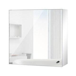 """HomCom 16"""" x 16"""" Stainless Steel Bathroom Mirror / Medicine Cabinet w/ Tissue Dispenser"""