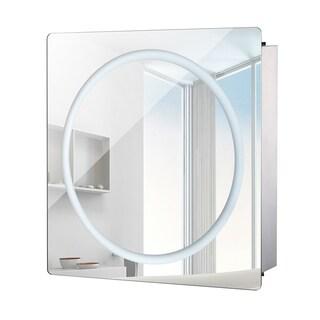 HomCom Vertical 28 in LED Illuminated Bathroom Sliding Wall Mirror Medicine Cabinet - Ring LED's