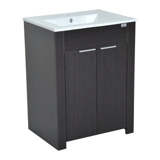 "HomCom 24"" Single Sink Bathroom Vanity Cabinet with Ceramic Sink Top - Dark Coffee"