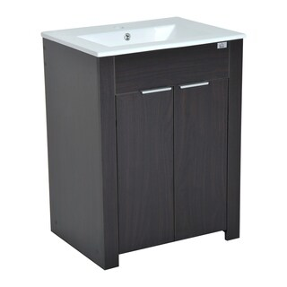 HomCom 24 in Modern Full Size Ceramic Sink Vanity Storage Cabinet - Dark Coffee Woodgrain