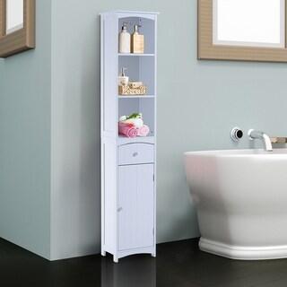 "67"" Free Standing Bathroom Tower Storage Cabinet Space Saving Floor Organizer Rack"