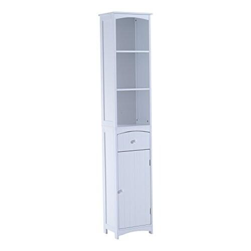 Bathroom Storage Cabinet Metal shop homcom tall bathroom storage cabinet - free standing shelving
