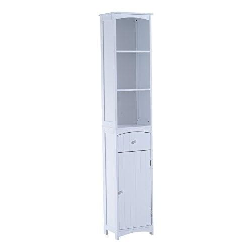Homcom Tall Bathroom Storage Cabinet Free Standing Shelving Cupboard White