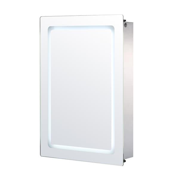 Homcom Vertical 30 In Led Illuminated Bathroom Sliding Wall Mirror Medicine Cabinet Outline Leds