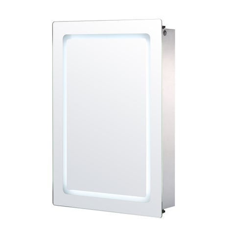 HomCom Vertical 30 LED Illuminated Bathroom Sliding Wall Mirror Medicine Cabinet - Outline LEDs