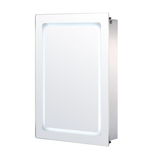 HomCom Vertical 30 in LED Illuminated Bathroom Sliding Wall Mirror Medicine Cabinet - Outline LEDs
