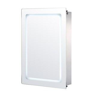 HomCom Vertical 30 in LED Illuminated Bathroom Sliding Wall Mirror Medicine Cabinet - Outline LEDs
