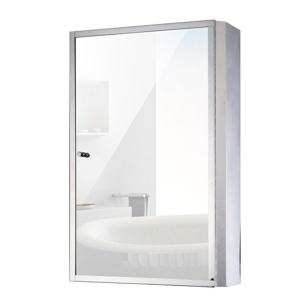 Shop Homcom 24 X 16 Stainless Steel Bathroom Mirror Medicine Cabinet Free Shipping Today