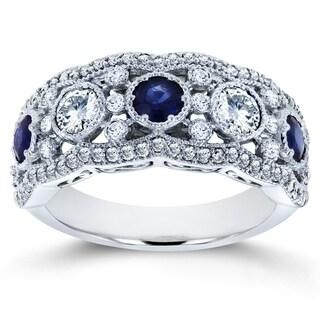 Annello by Kobelli 10k White Gold 1 1/2ct TCW Blue Sapphire and Diamond Fashion Ring