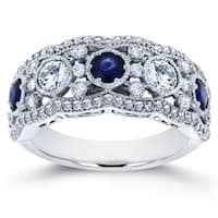 Annello by Kobelli 10k White Gold 1 1/2ct TGW Blue Sapphire and Diamond Fashion Ring