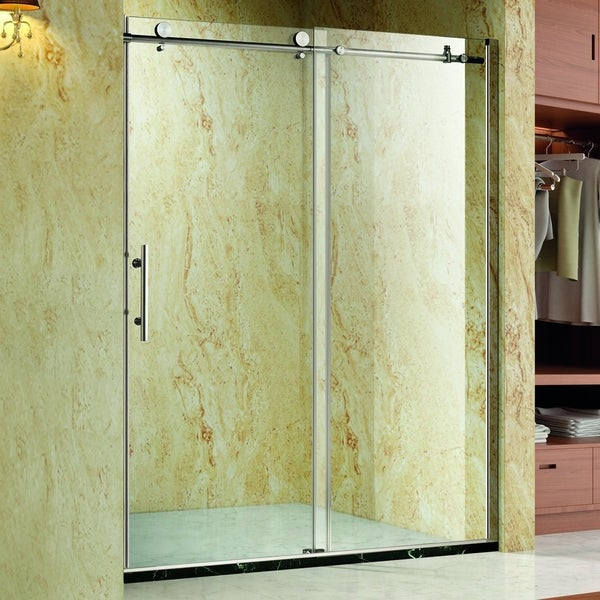 Homcom Frameless Glass Sliding Shower Door Polished Stainless 48