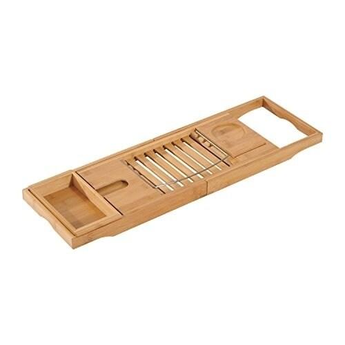 Shop HomCom Adjustable Bamboo Bathtub Tray - Brown - Free Shipping ...