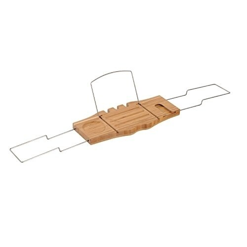 Shop HomCom Bathtub Caddy Tray with Wine Glass Holder and Book Stand ...