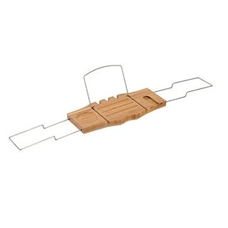 HomCom Bathtub Caddy Tray with Wine Glass Holder and Book Stand - Brown