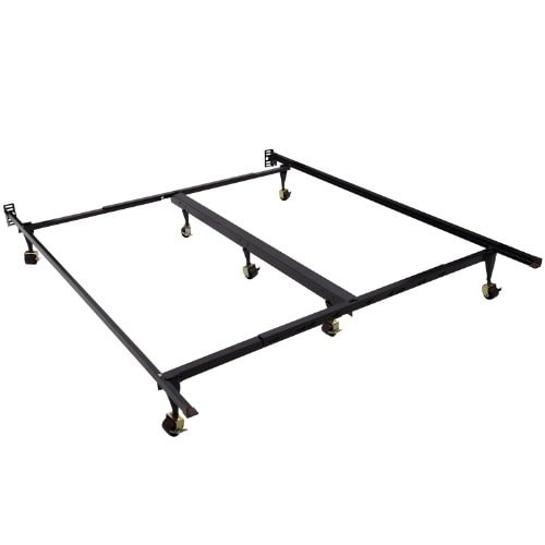 HomCom Classic Adjustable Steel Bed Frame With Rollers Fits King Queen Mattresses