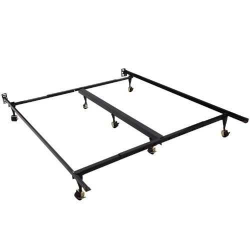 Aosom HomCom 7-Leg Adjustable Metal Bed Frame w/ Rollers ...
