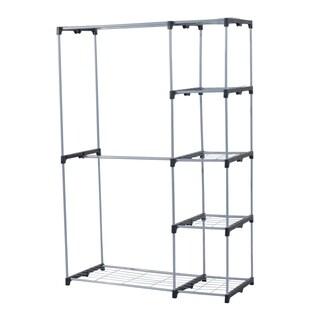 """HomCom 45.3"""" x 19.7"""" x 68.9"""" Freestanding Wire Closet - Silver"""
