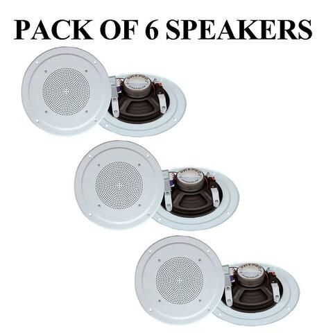 Pyle PDICS54 5'' Full Range In Ceiling Speaker System W/Transformer, White- 6 Units