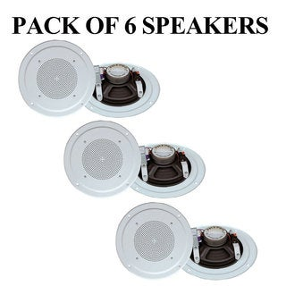 Pyle PDICS54 5'' Full Range In Ceiling Speaker System W/Transformer, White- 6 Units