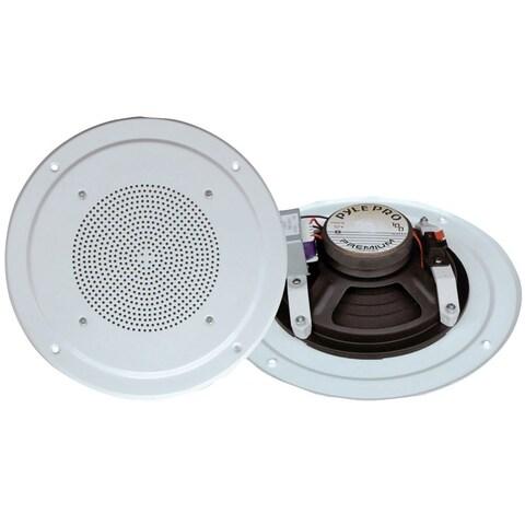 Pyle PDICS54 5'' Full Range In Ceiling Speaker System W/Transformer, White- 2 Units