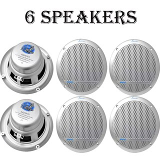 300 Watts 5.25'' Dual Cone Marine Speakers (Silver Color) 3 Pairs