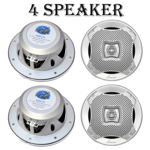 Lanzar AQ6CXS-2 400 Watts 6.5'' 2-Way Marine Speakers (Silver) 2 Pack